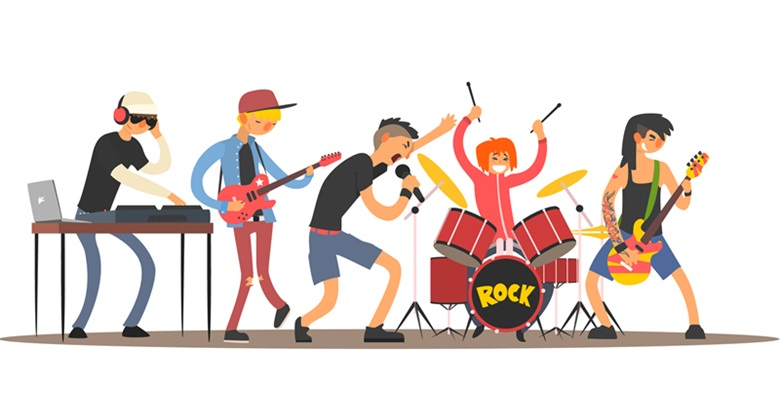 Musicians on a Concert. Flat Vector Illustration